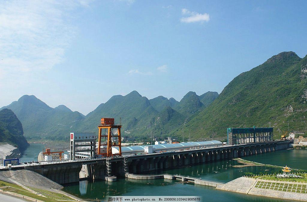乐滩电站 乐滩 自然景观 山水风景 红水河风光 摄影图库 72dpi jpg