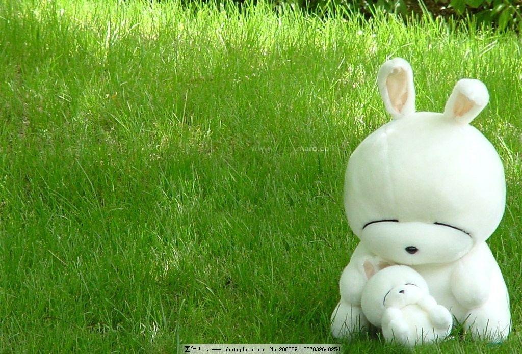 可爱电脑桌面墙纸 草地 流氓兔 生活百科 生活素材 摄影图库 72dpi