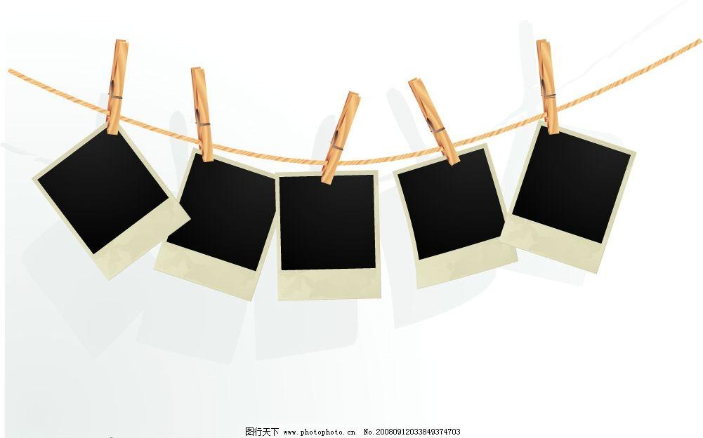 照片夹 底片 夹子 绳子 其他矢量 矢量素材 矢量图库