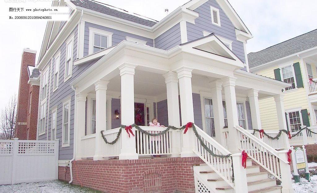 欧式白色别墅 房屋 房子 风景 户外 建筑 欧式白色别墅图片素材下载