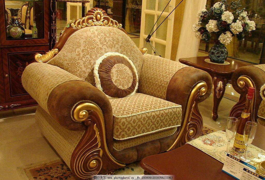 经典欧式家具华丽的单人沙发图片