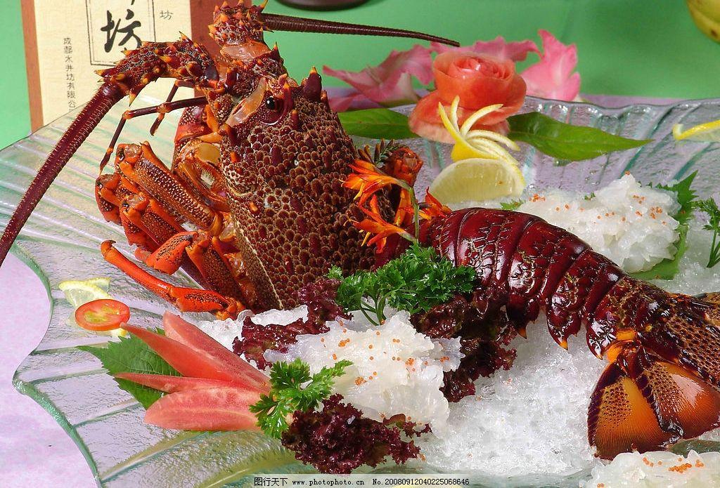龙虾 海鲜 冰 雕刻 食物 菜肴 食品 摄影图库