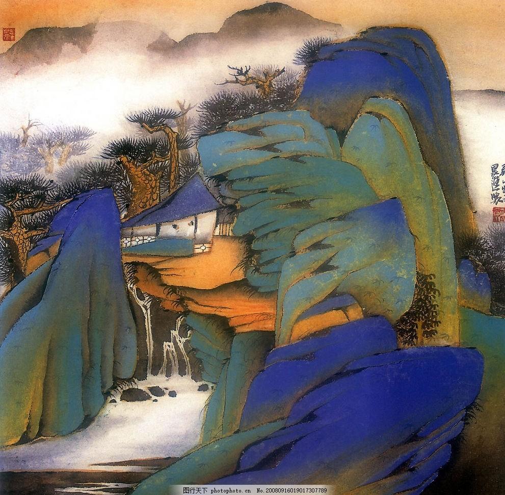 中国画工笔重彩山水