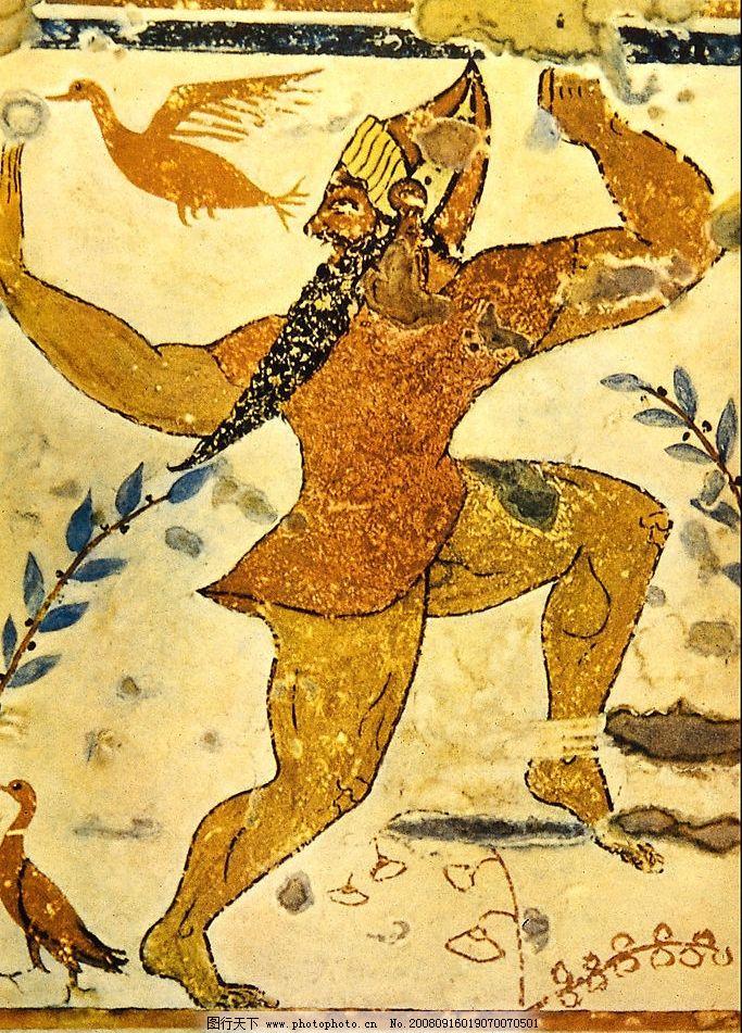 古代 壁画 神 跳舞 飞鸟 古朴 墙 男人 文化艺术 绘画书法 设计图库 7