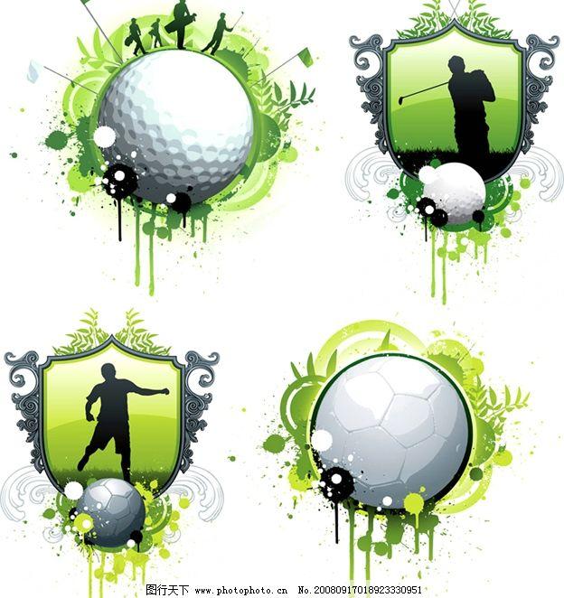 高尔夫球 足球 花边 花纹 底纹 绿色 运动 体育 时尚 矢量图库