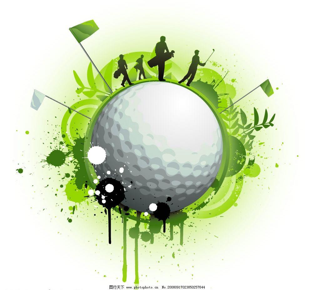 高尔夫主题矢量素材 矢量高尔夫球 人物剪影 盾牌 花纹 旗帜 植物