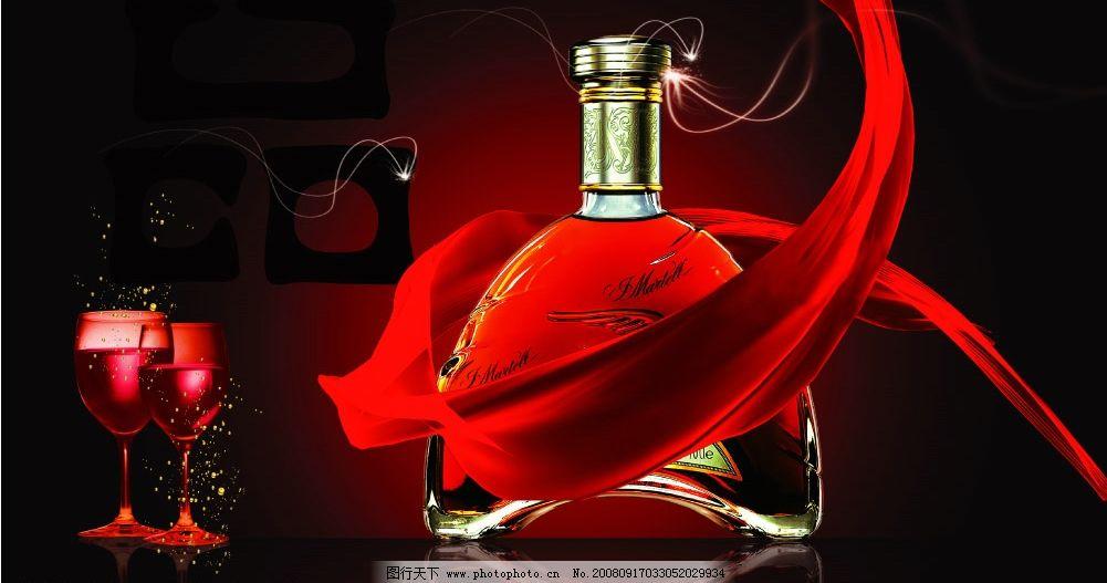 红酒 洋酒 酒 绸带 红色底图