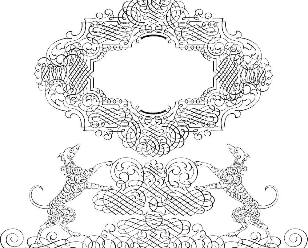 白描的欧式花纹图片