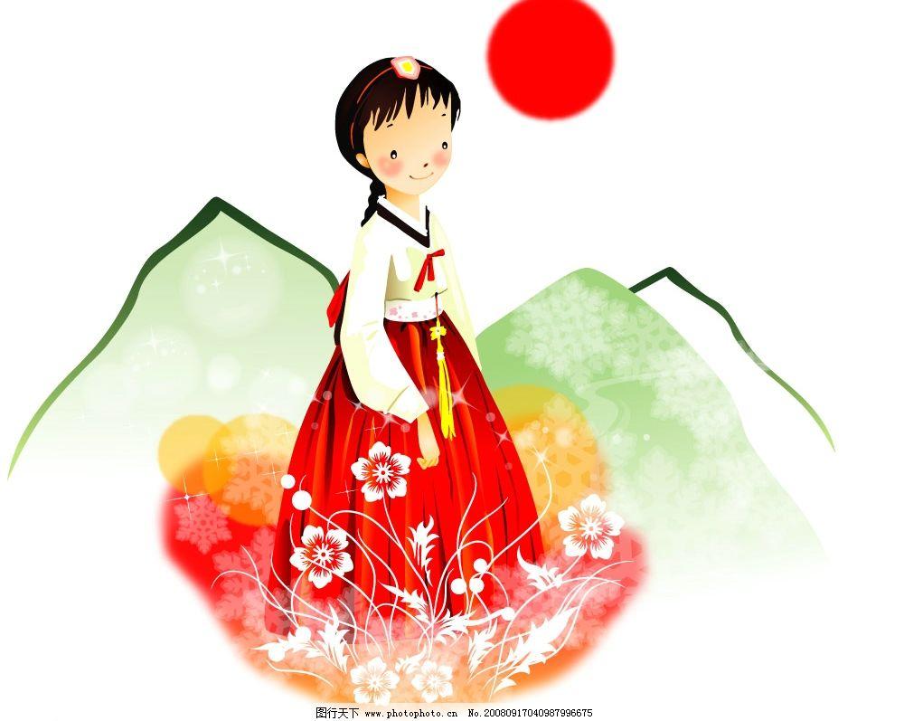 穿韩服的小女孩 韩国 女孩