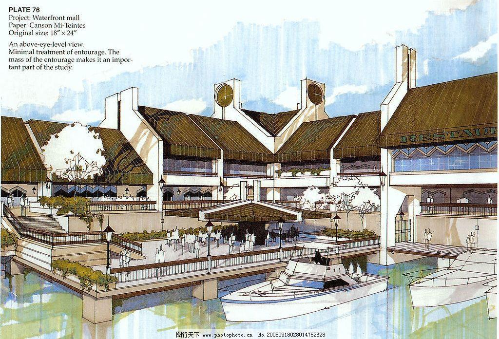 建筑手绘 快餐店 光影 天花 环境设计 建筑设计 设计图库 300dpi jpg