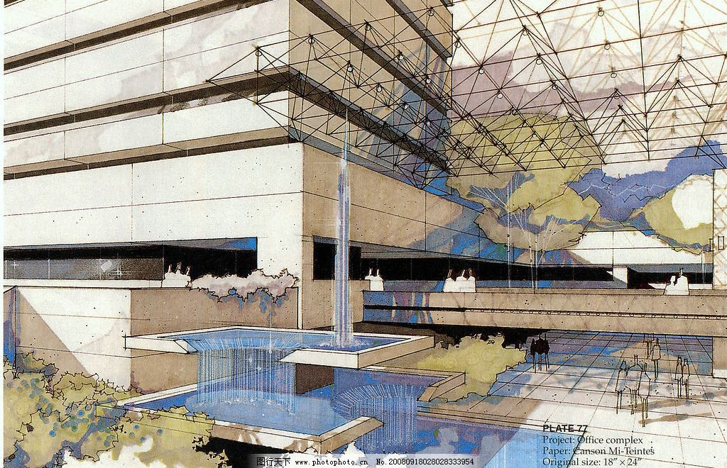 建筑手绘 快餐店 天花 墙纸 环境设计 建筑设计 设计图库 300dpi jpg