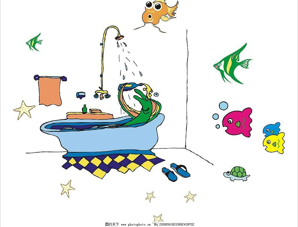 卡通动物洗澡 卡通鱼 浴缸 卡爱动物 其他矢量 矢量素材 矢量图库 cdr