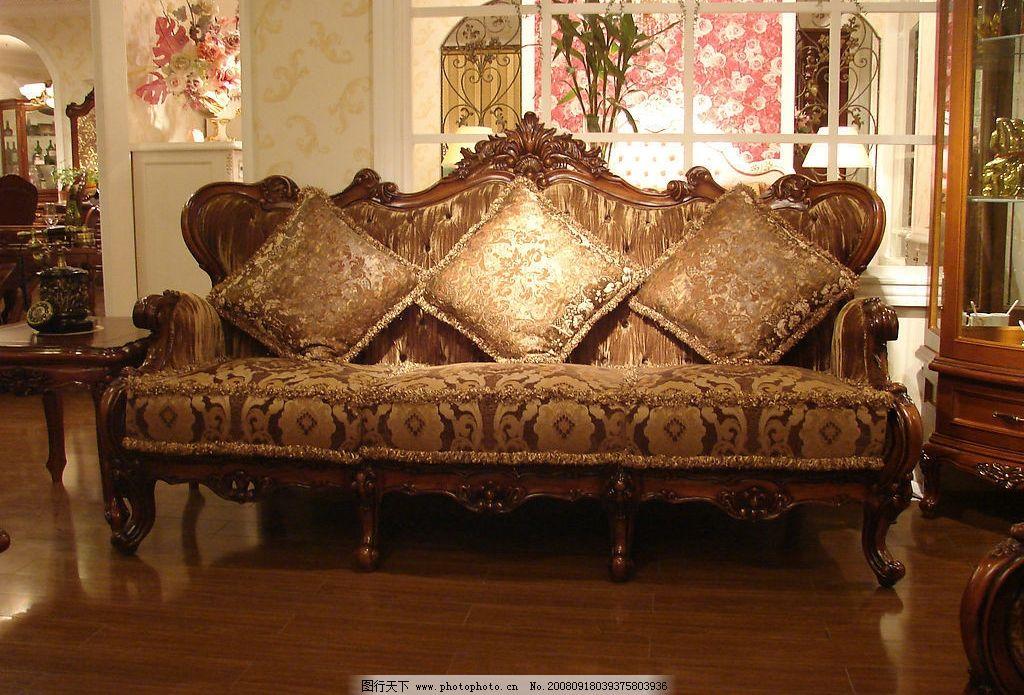 经典欧式家具三人沙发图片