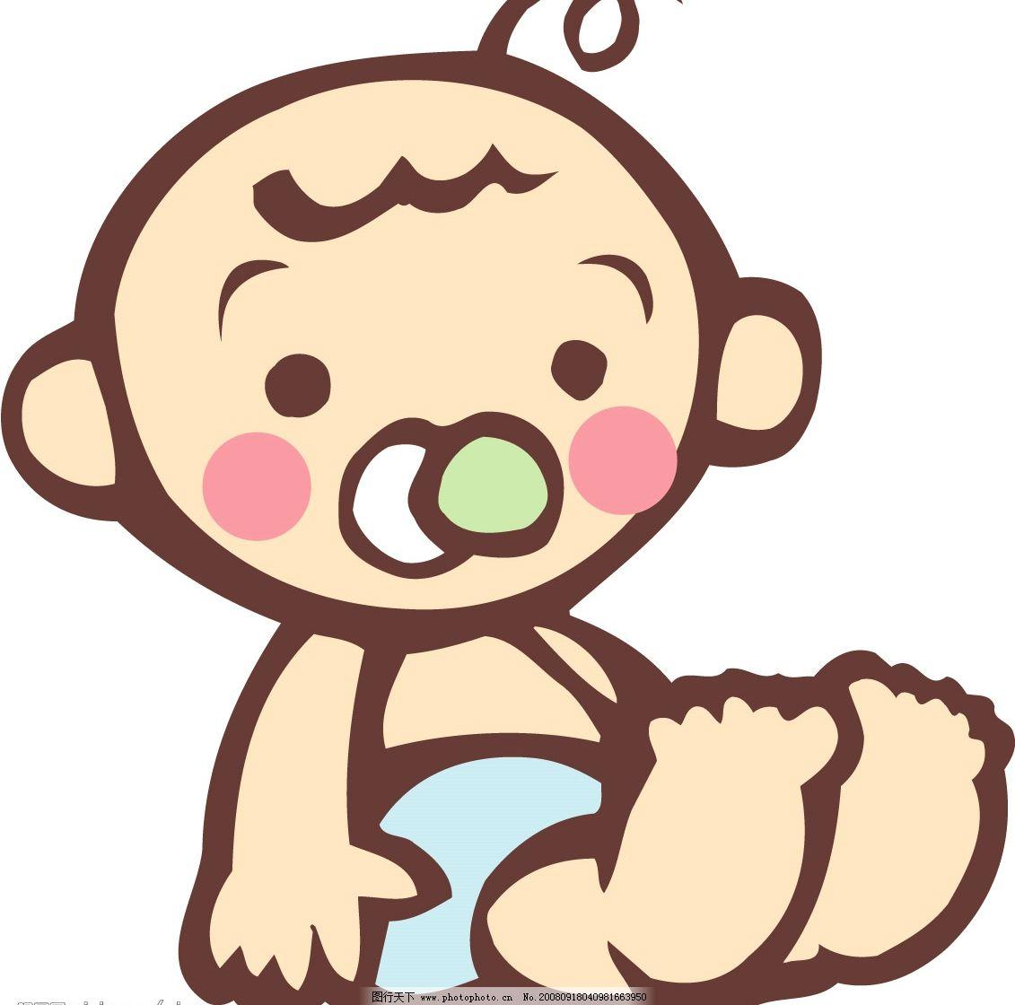 男宝宝 日本 男孩 奶嘴 坐着 矢量人物 儿童幼儿 日本婴儿矢量图