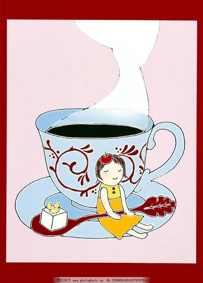 人物插画 人物 插画 女孩 杯子 水彩画 动漫动画 动漫人物 可爱的卡通