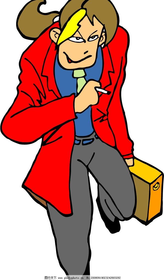 卡通人 悠闲 吸烟 矢量人物 矢量图库