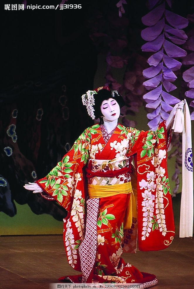 日本和服 女优 跳舞 花布 人物摄影 摄影图库