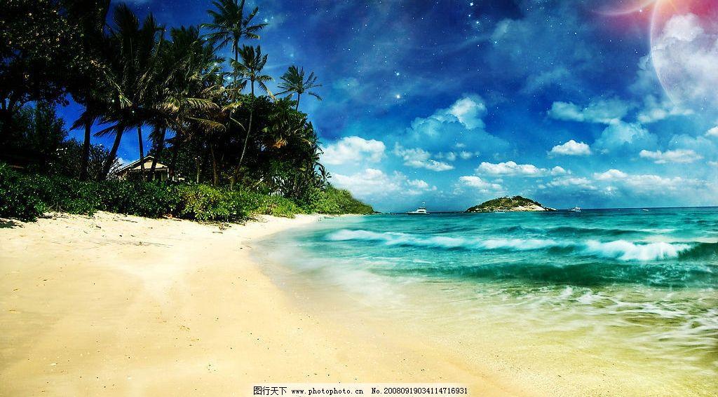 海滩沙滩背景 海滩 沙滩 树木 大海 海洋 蔚蓝 背景 太阳 光芒 旅游
